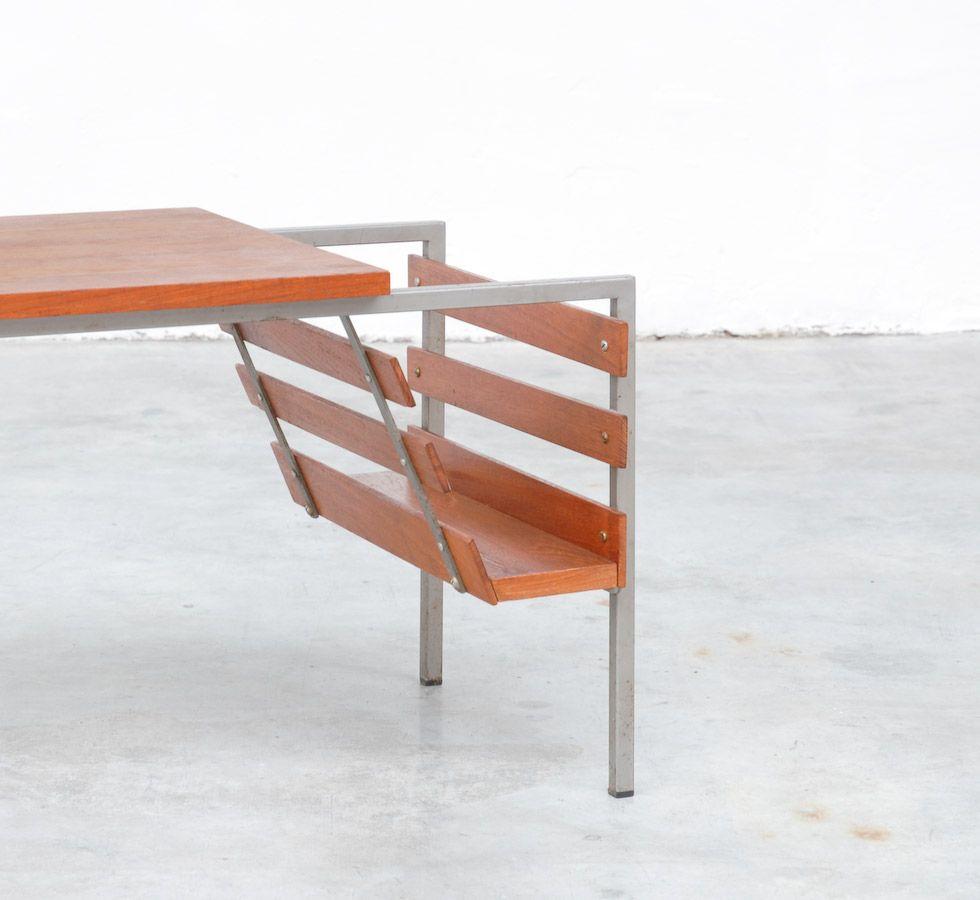 vintage beistelltisch aus teak metall mit zeitungsst nder bei pamono kaufen. Black Bedroom Furniture Sets. Home Design Ideas