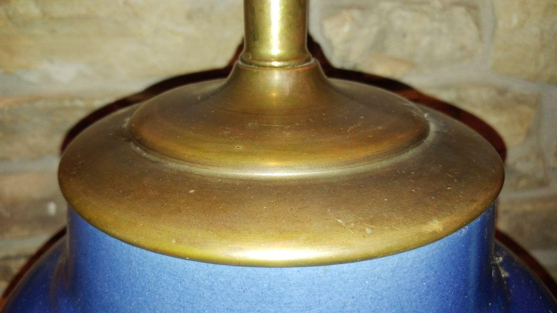 blaue keramik ingwertopf lampe bei pamono kaufen. Black Bedroom Furniture Sets. Home Design Ideas