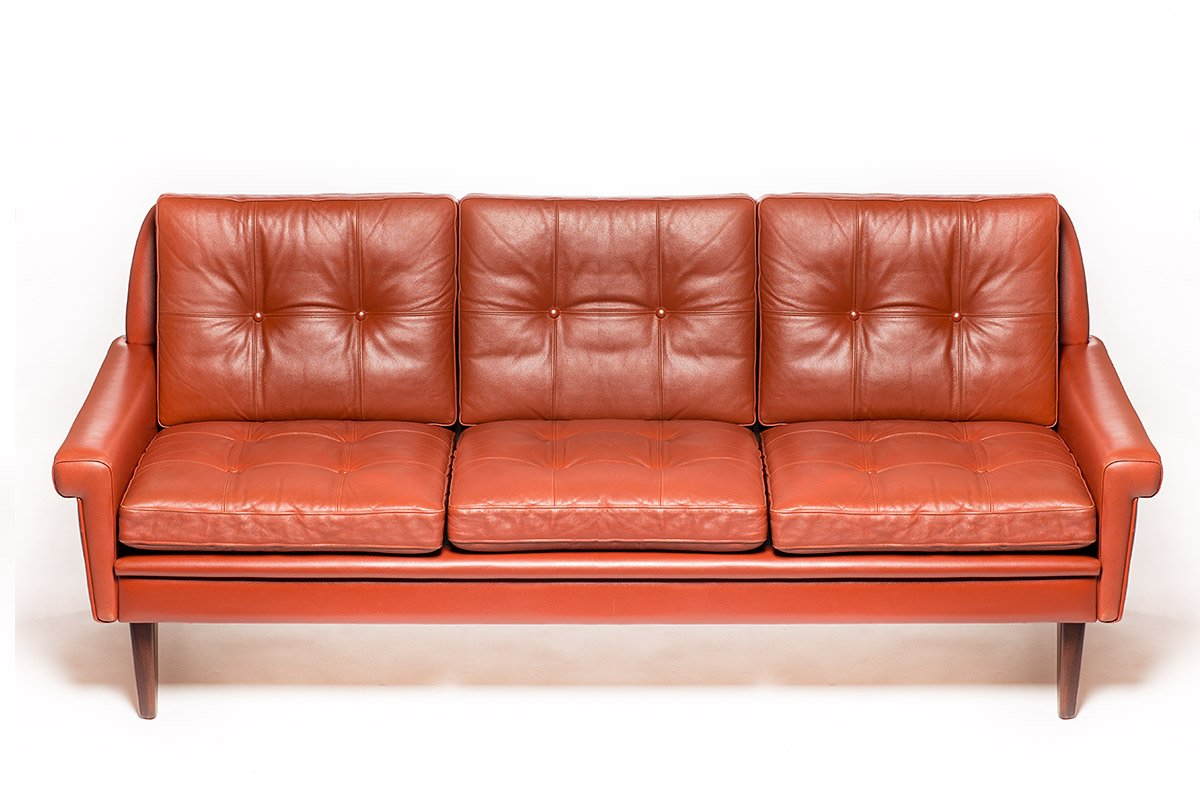 Vintage danish tan leather sofa by svend skipper for for Tan couches for sale