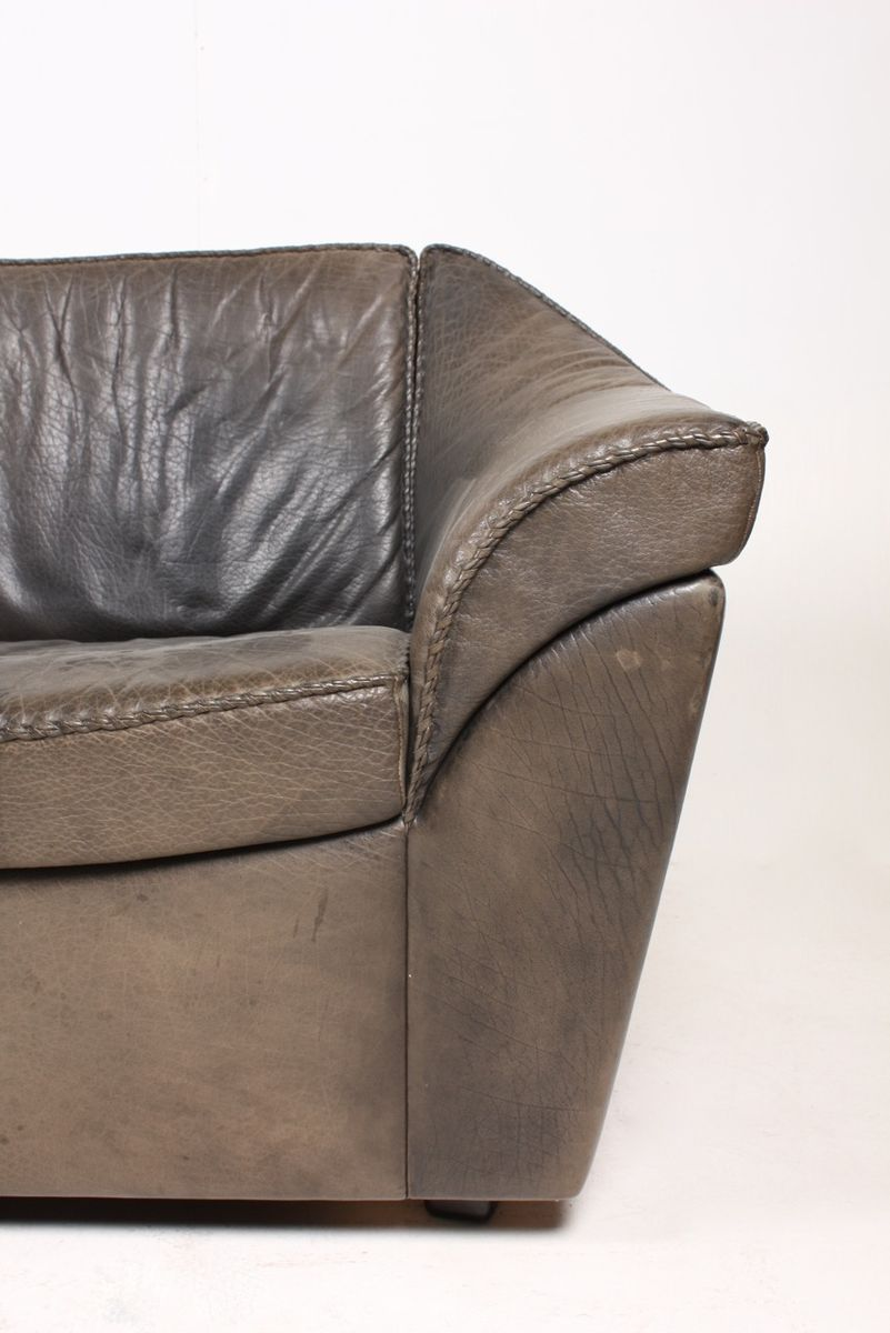 Vintage three seater black leather sofa by berg for sale for Leather sofa 7 seater