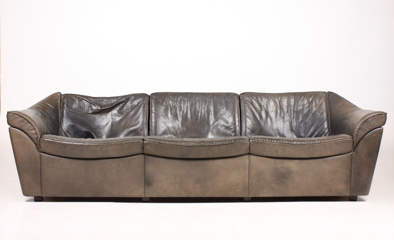 Vintage Three Seater Black Leather Sofa By Berg For Sale