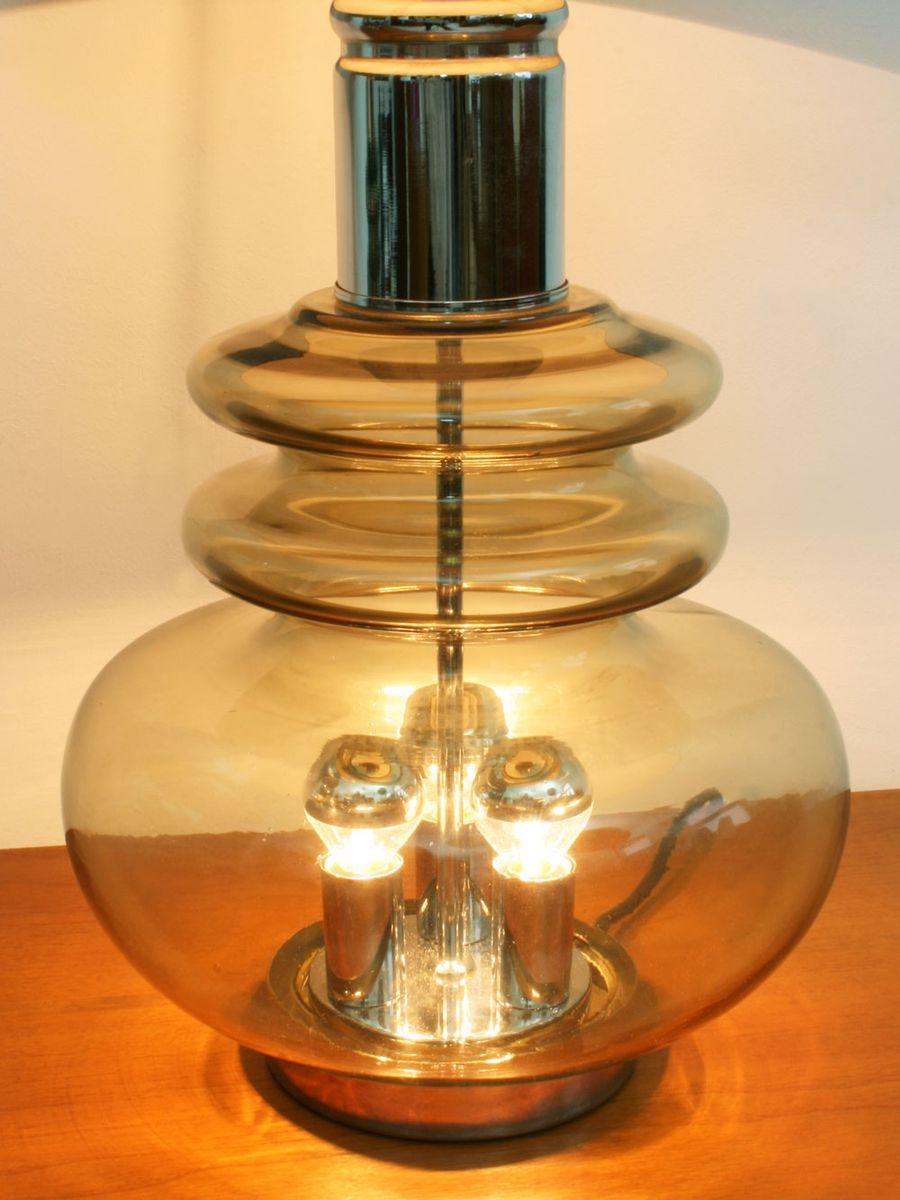 lampe de table en verre et en chrome de doria leuchten. Black Bedroom Furniture Sets. Home Design Ideas