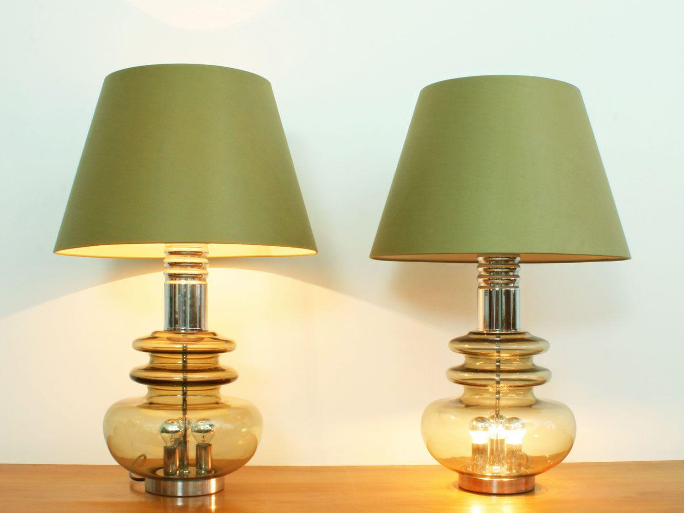 Lampe de table en verre et en chrome de doria leuchten for Set de table en verre