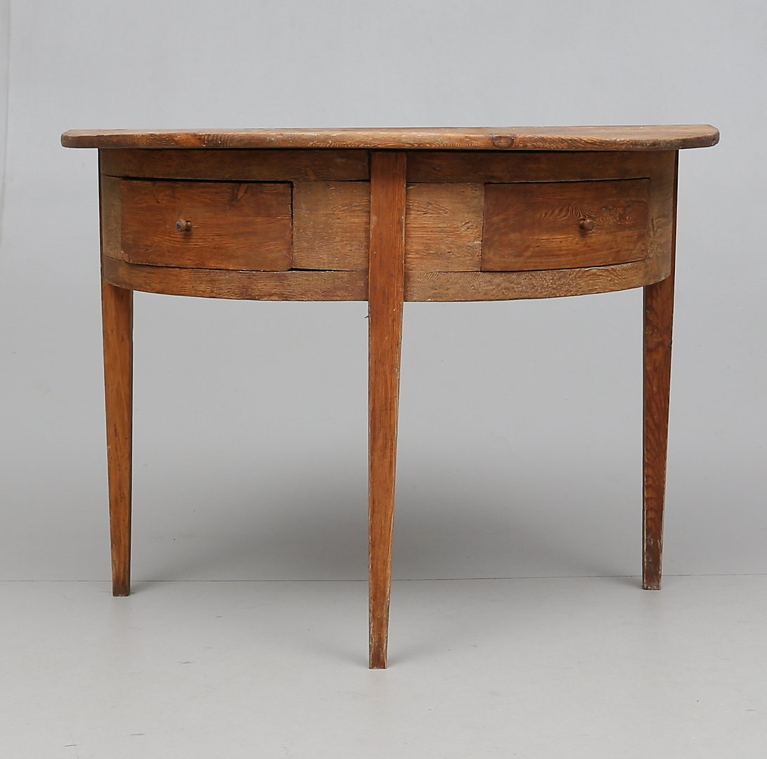 swedish console table with drawers
