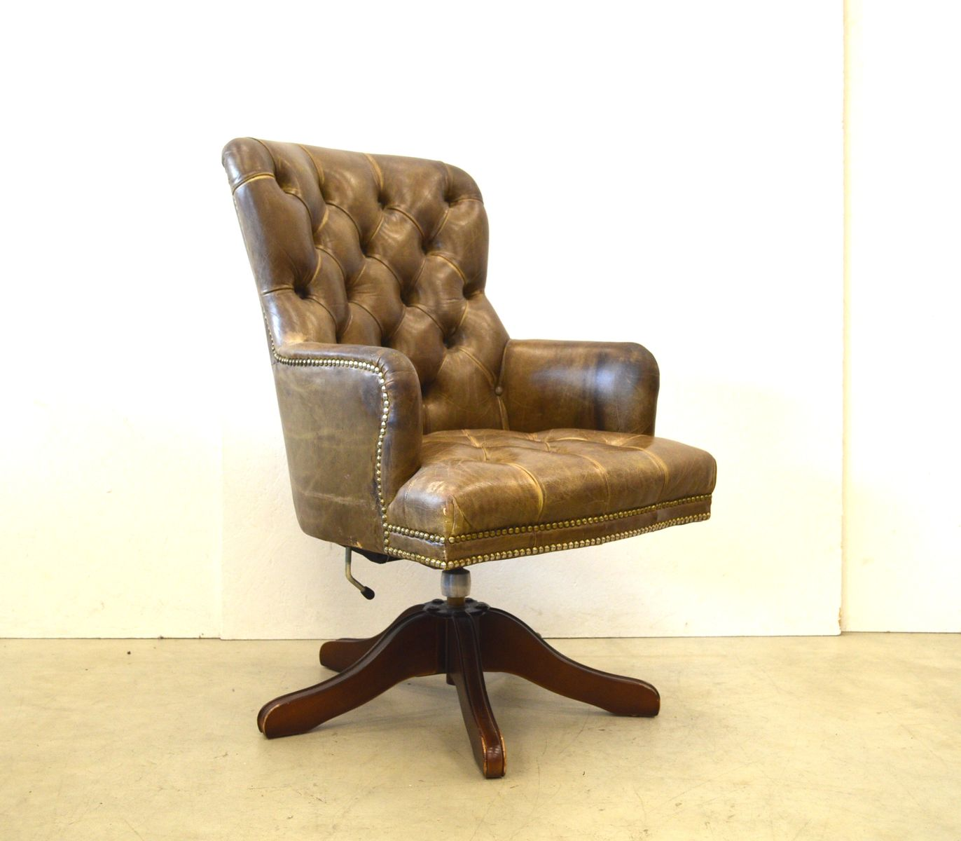 brown leather chesterfield office chair 1950s for sale at pamono