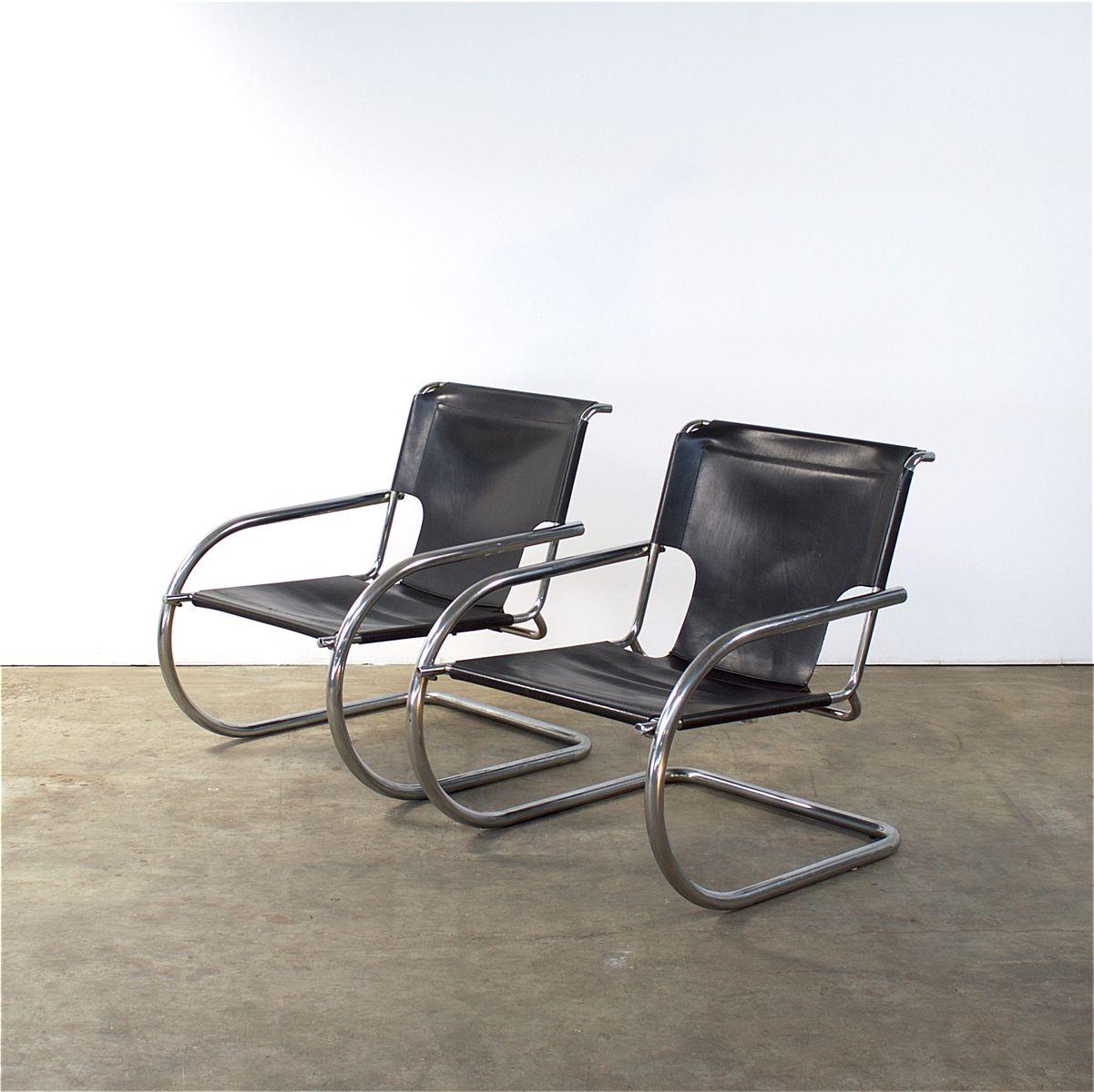 italienische vintage sessel aus chrom leder von arrben. Black Bedroom Furniture Sets. Home Design Ideas