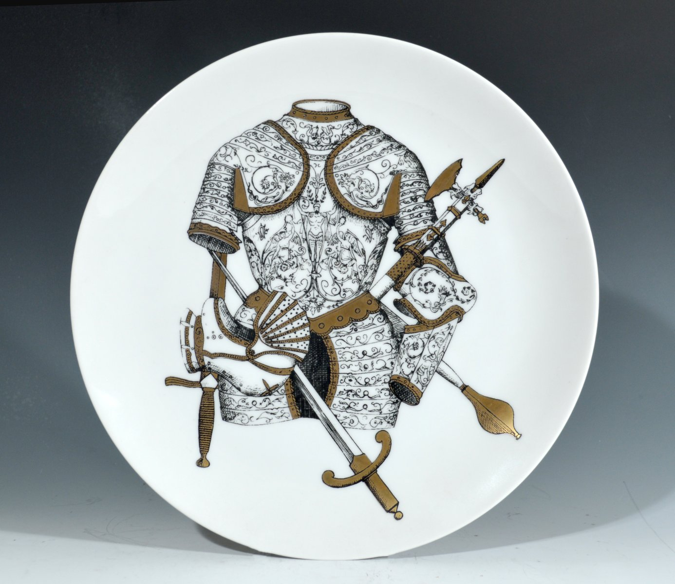 vintage italian plate with coat of armor by piero fornasetti 1960s