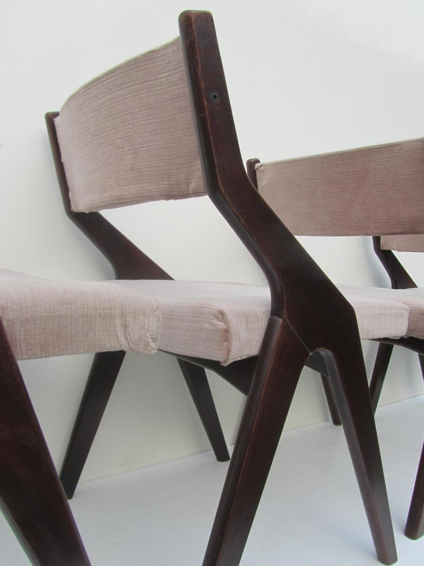 French Modernist Dining Chairs with Compass Frames 1950s Set of