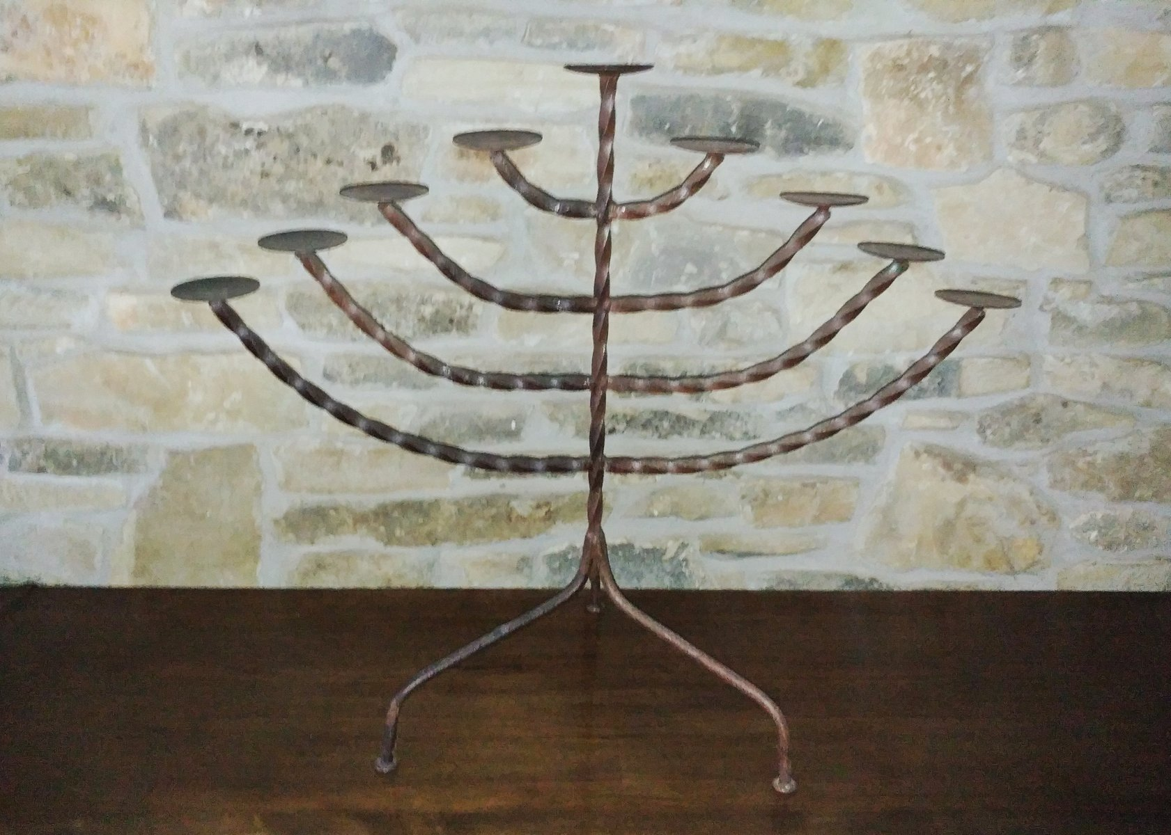 Antique wrought iron table - Antique Wrought Iron Table Top Candelabra