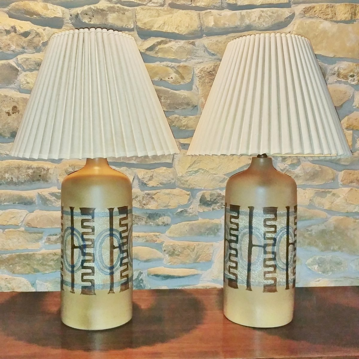 ceramic table lamps by elspeth cohen for lapid pottery works set of 2