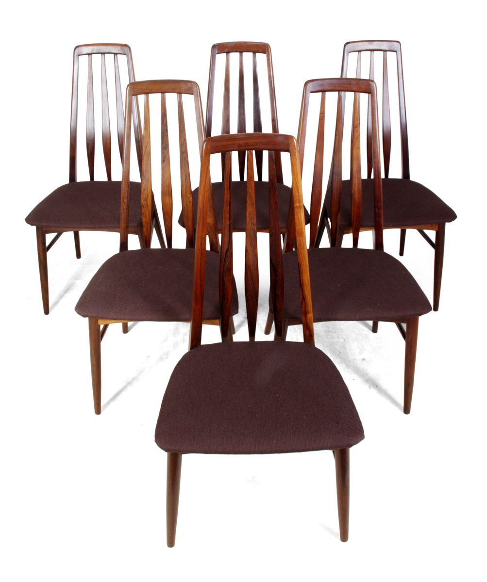 Model Eva Rosewood Dining Chairs by Koefoeds Hornslet, Set ...