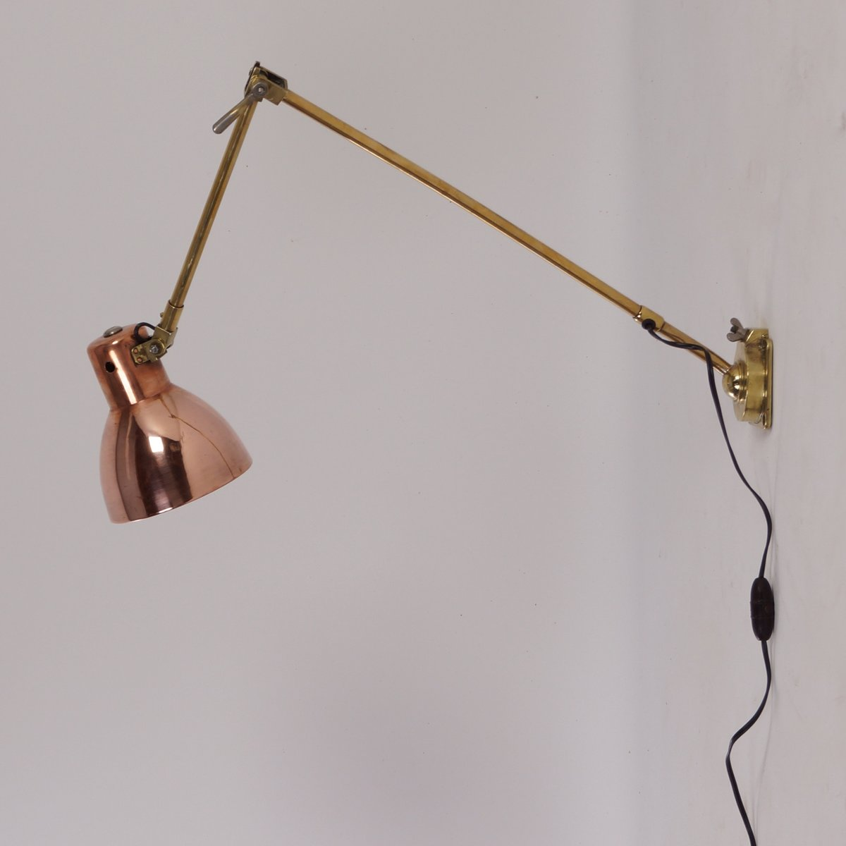 Wall Lamps Brass : Bauhaus Copper & Brass Wall Lamp from Kandem, 1930s for sale at Pamono