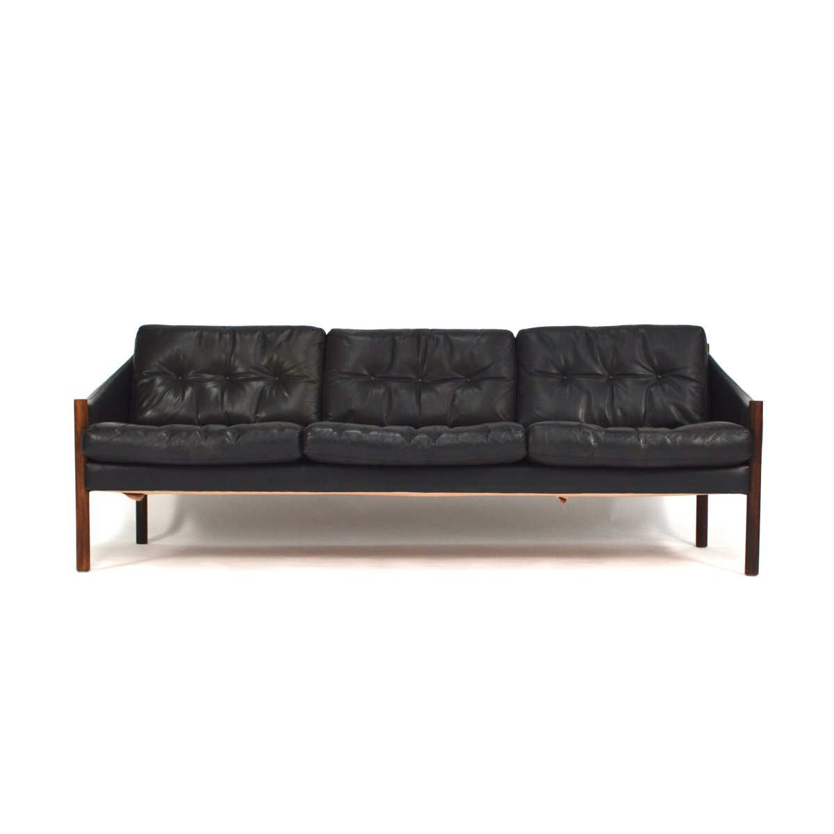 Mid century black leather sofa for sale at pamono for Black leather sofa