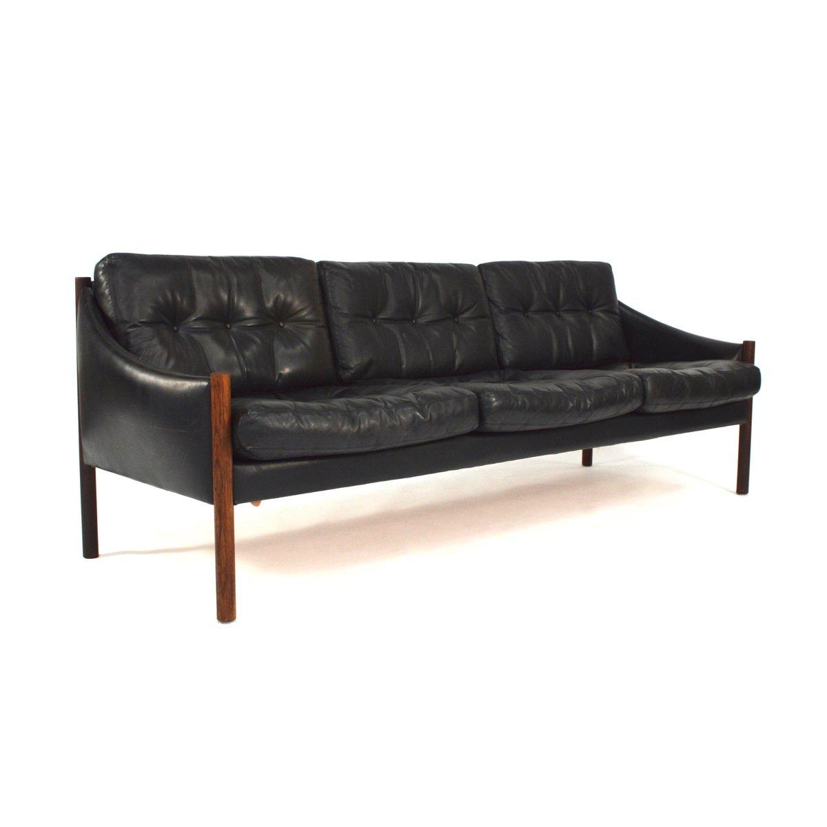 Mid Century Black Leather Sofa For Sale At Pamono