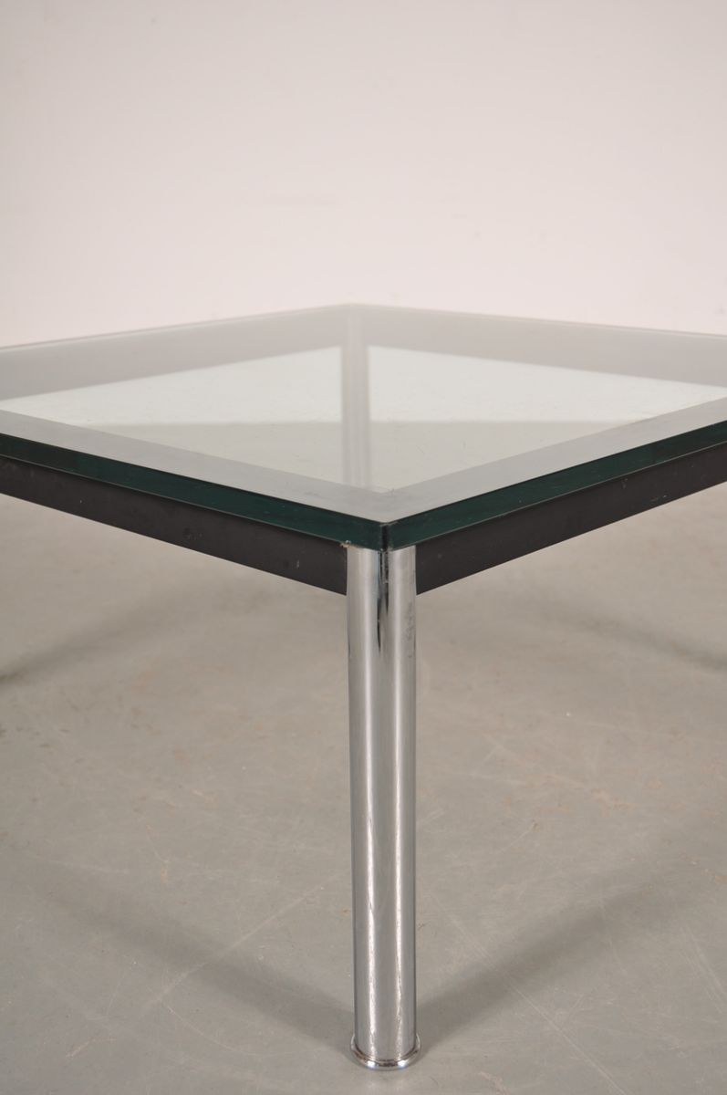 Italian Metal Glass Coffee Table By Le Corbusier For Cassina 1980s For Sale At Pamono