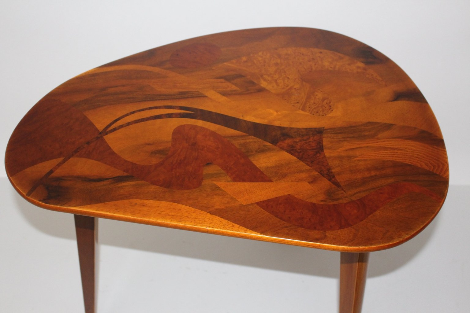 Vintage Austrian Inlaid Wooden Coffee Table, 1950s