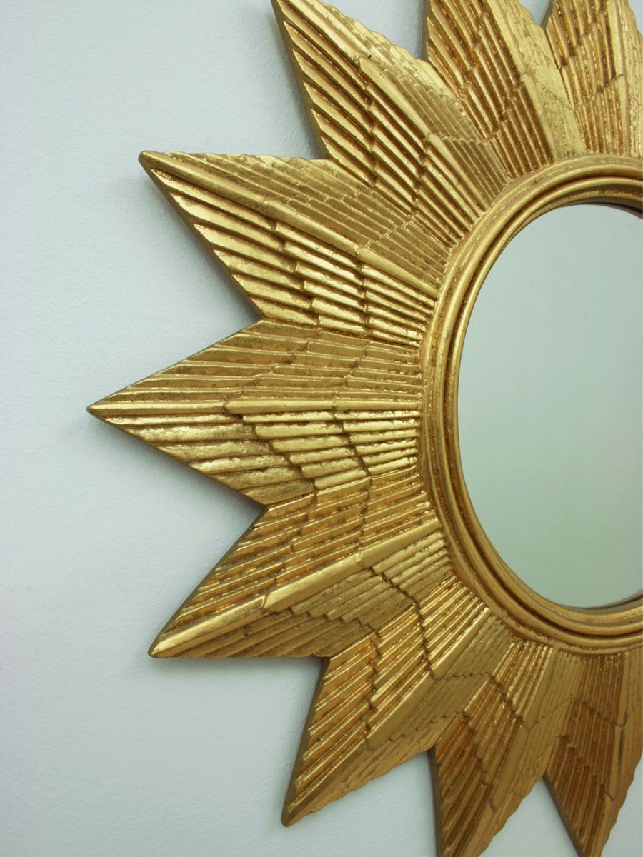 Sunburst Wall Mirror german golden starburst wall mirror, 1970s for sale at pamono