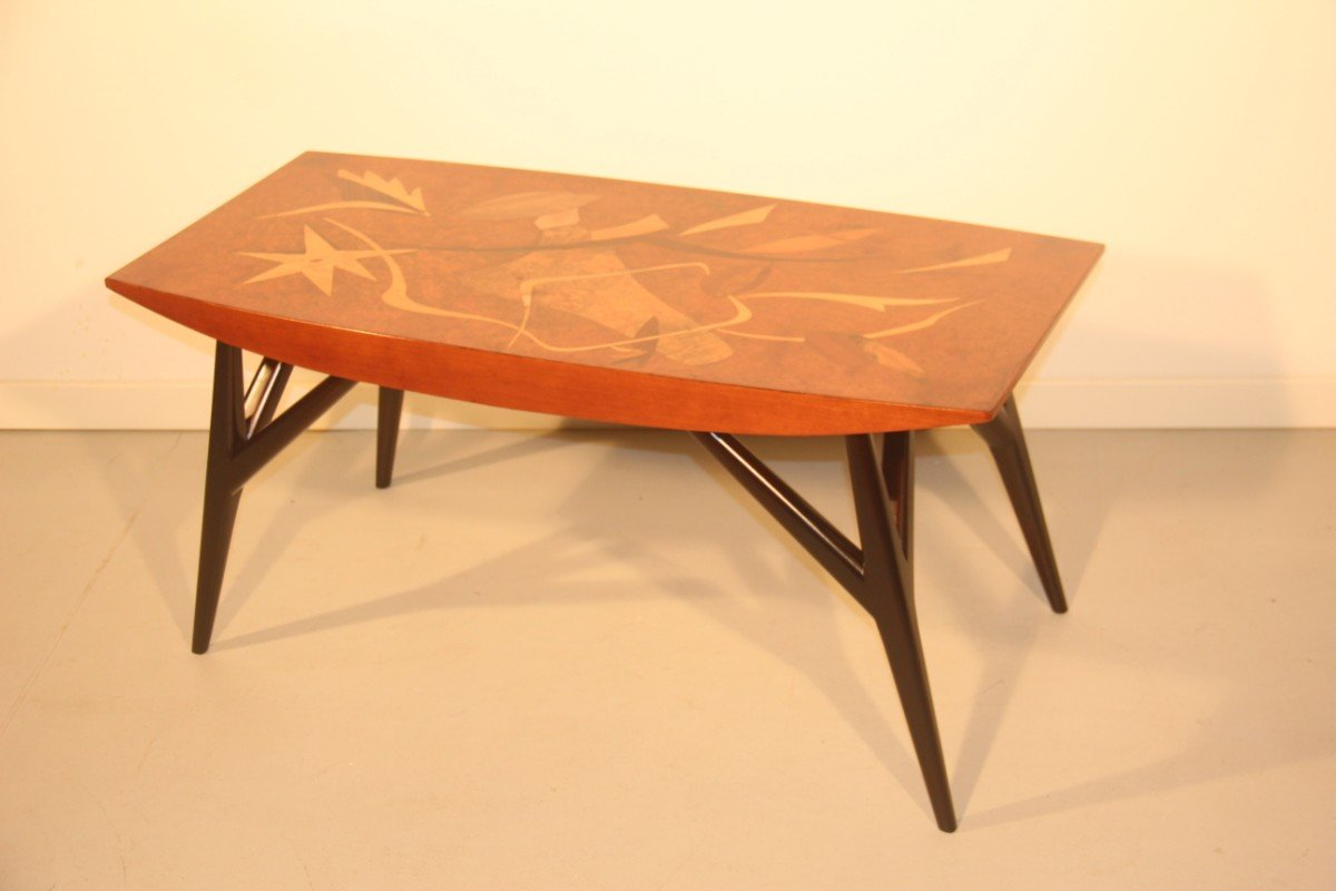 Italian Coffee Table With Wooden Inlays By Luigi Scremin 1950 For Sale At Pamono