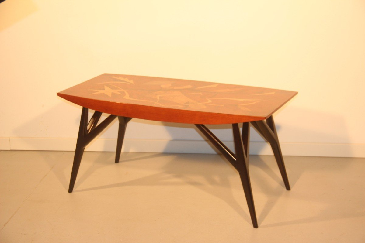 Italian Coffee Table Italian Coffee Table With Wooden Inlays By Luigi Scremin 1950 For
