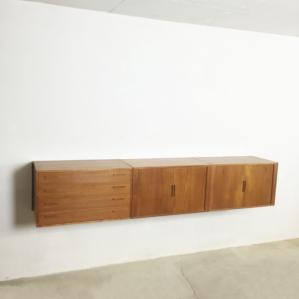 Danish Teak Wall Sideboard by Kai Kristiansen for ...