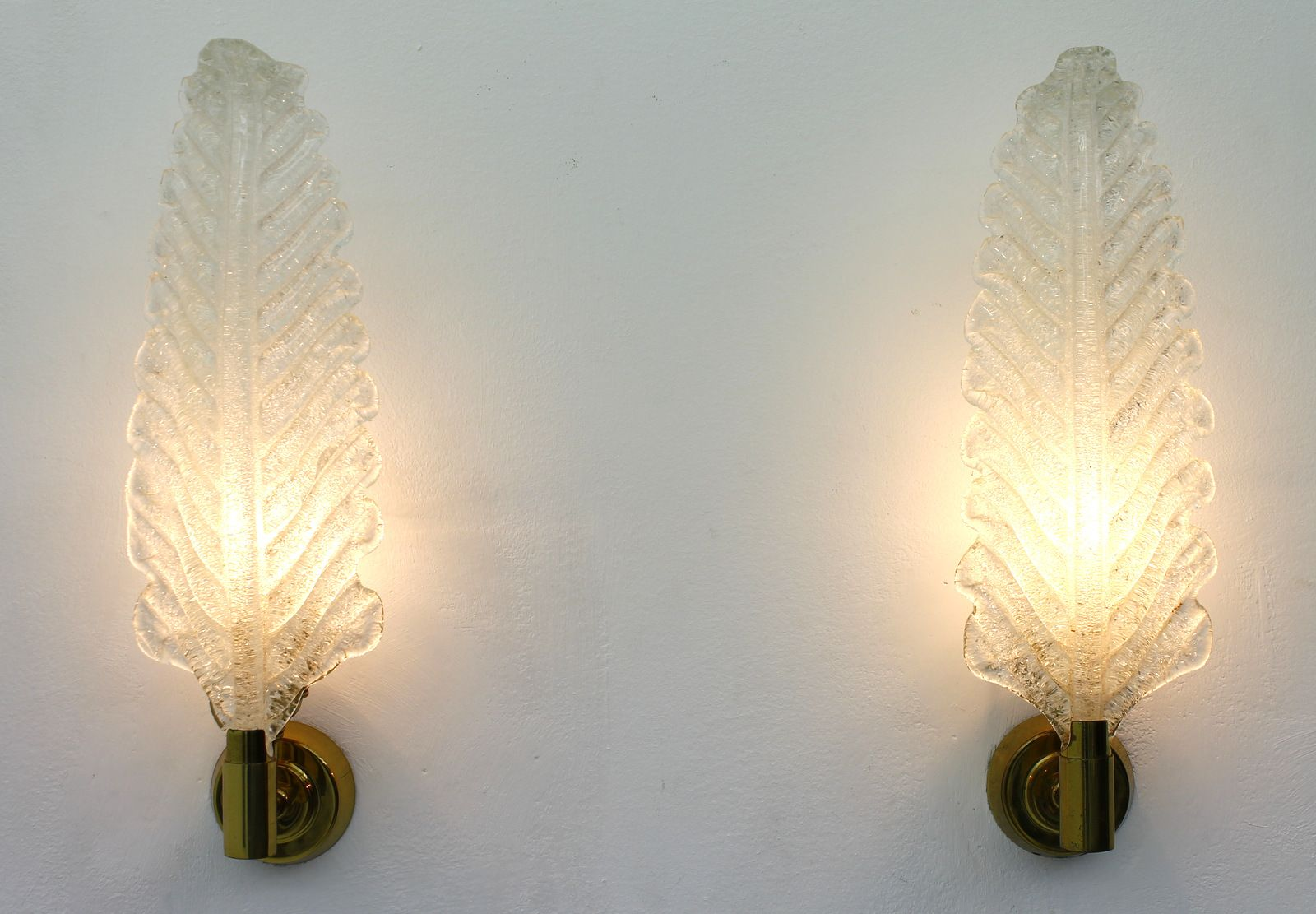 Vintage Glass Wall Sconces : Vintage Brass & Glass Wall Sconces by Barovier Toso, 1950s, Set of 2 for sale at Pamono