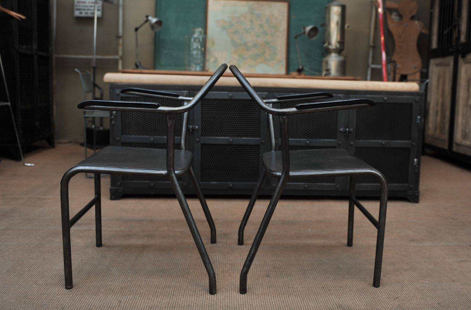 Industrial Metal and Bakelite Chairs 1950s Set of 2 for sale at