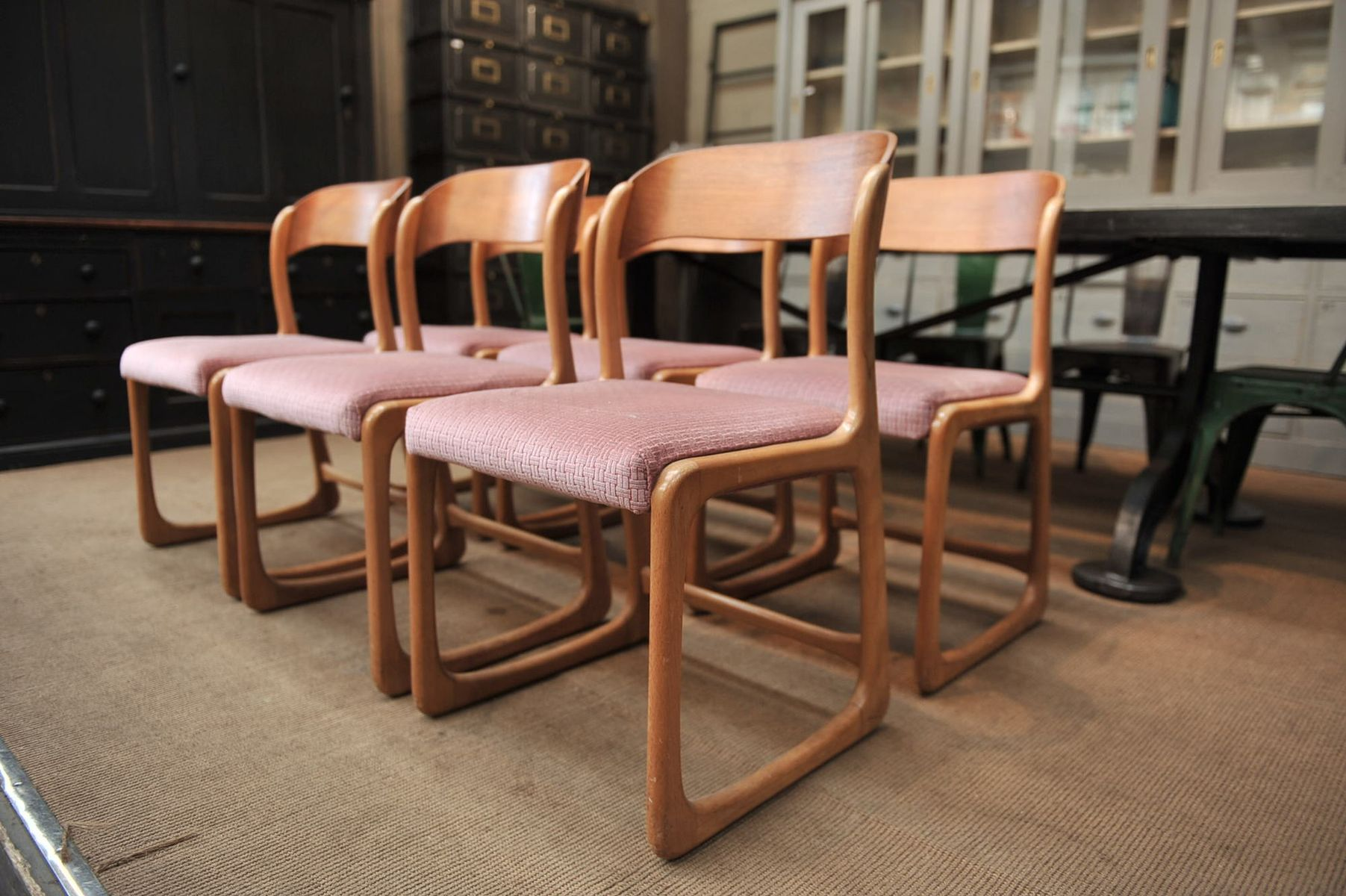 Vintage Wooden Chairs From Baumann 1960s Set Of 6 For Sale At Pamono