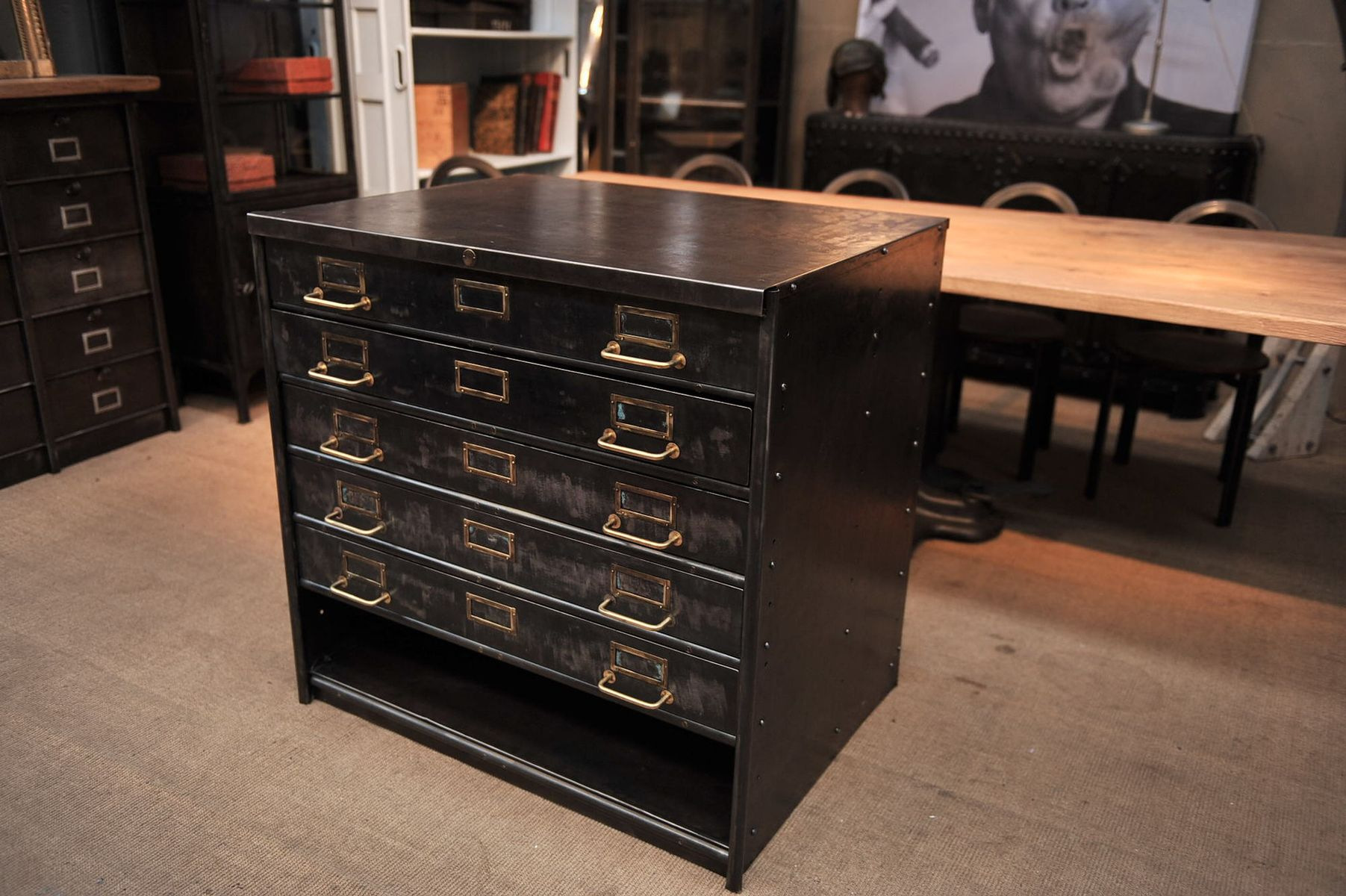 5 Drawer Metal File Cabinet Vintage Industrial Metal Cabinet With 5 Drawers From Roneo For