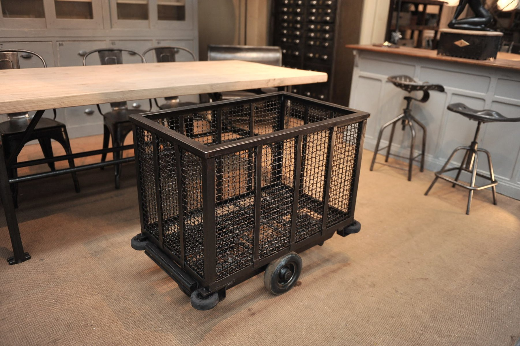 Vintage Factory Cart Trolley On Wheels For Sale At Pamono