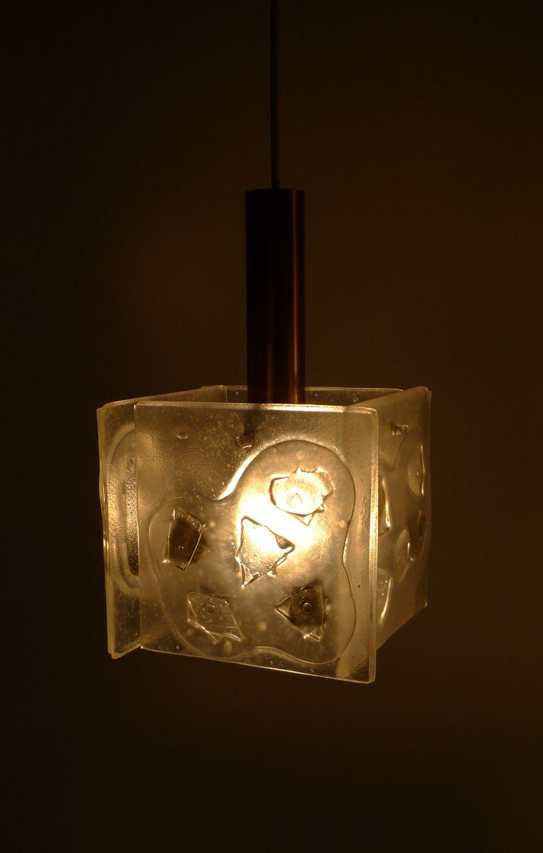 Lampade a sospensione in vetro e ottone, Germania, anni '60, set di 2 in vendita su Pamono