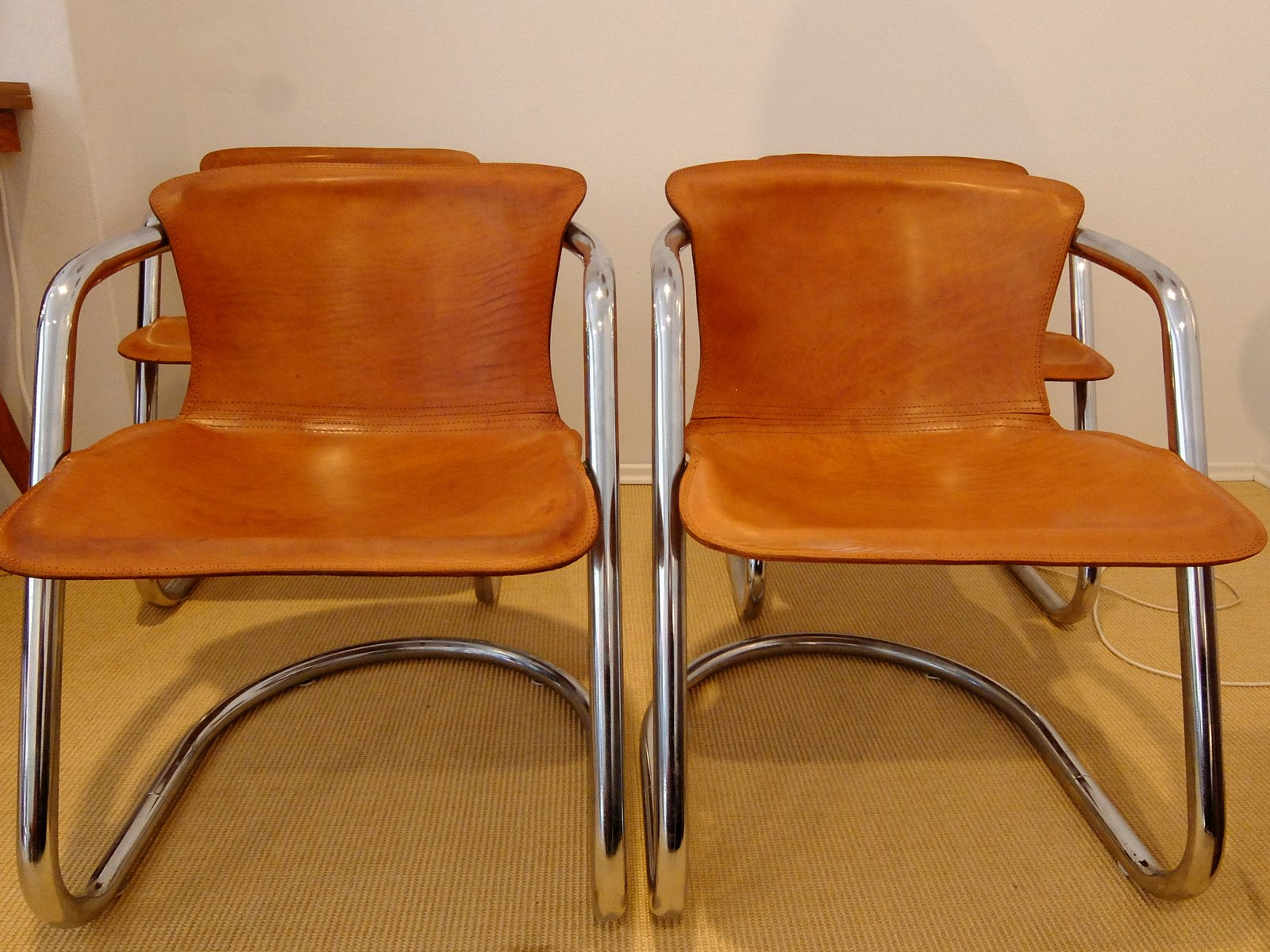 Italian brown leather dining chairs by willy rizzo 1970s for Brown leather dining room chairs