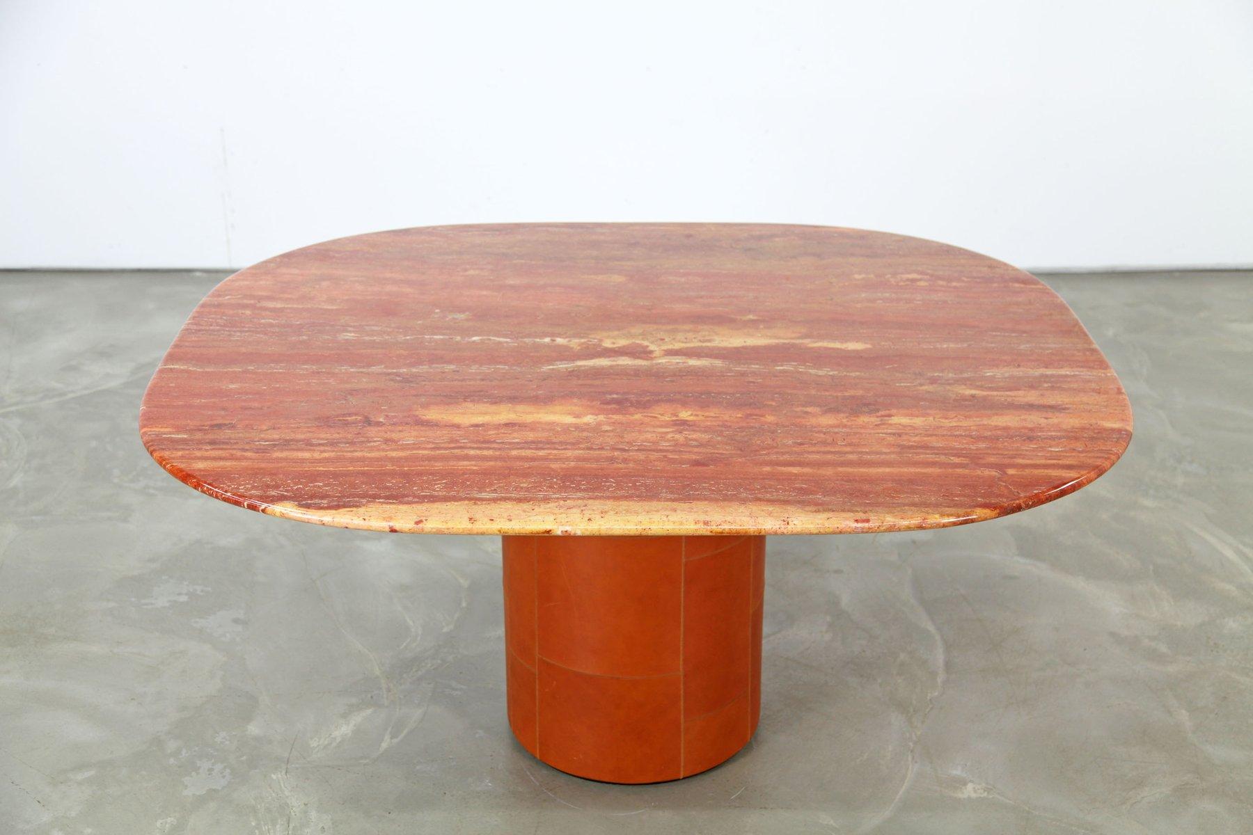 Italienischer tisch aus rotem travertin leder von b b for Travertin tisch