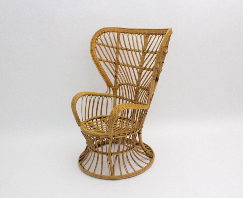 fauteuil emmanuelle en rotin italie 1950s en vente sur pamono. Black Bedroom Furniture Sets. Home Design Ideas