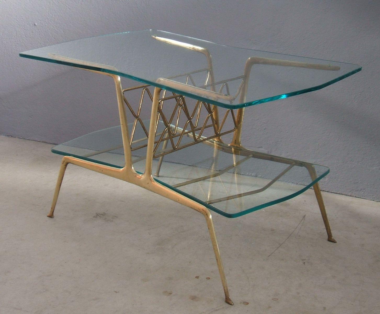 italienischer mid century couchtisch aus messing glas bei pamono kaufen. Black Bedroom Furniture Sets. Home Design Ideas