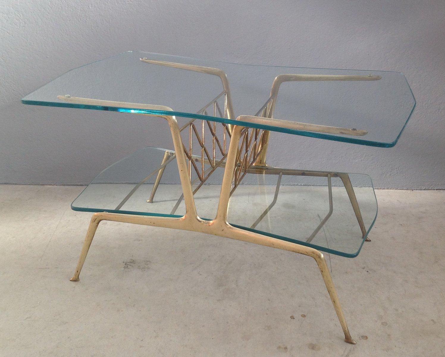 italienischer mid century couchtisch aus messing glas. Black Bedroom Furniture Sets. Home Design Ideas
