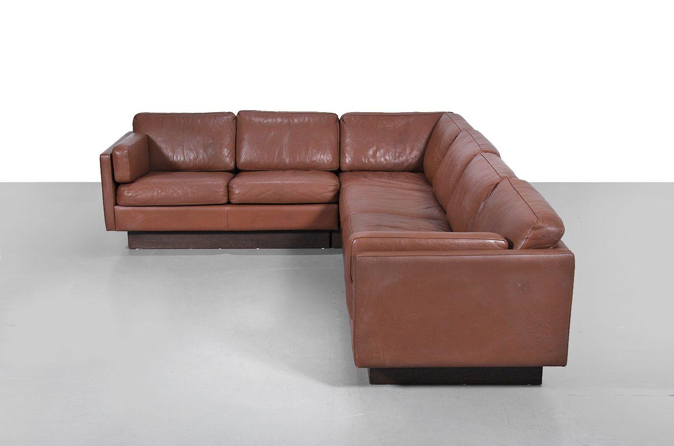 d nisches ecksofa aus leder von erik jorgensen f r thams 1970er bei pamono kaufen. Black Bedroom Furniture Sets. Home Design Ideas