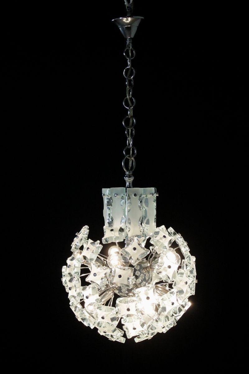 Vintage Italian Chromed Metal Amp Glass Hanging Lamp For