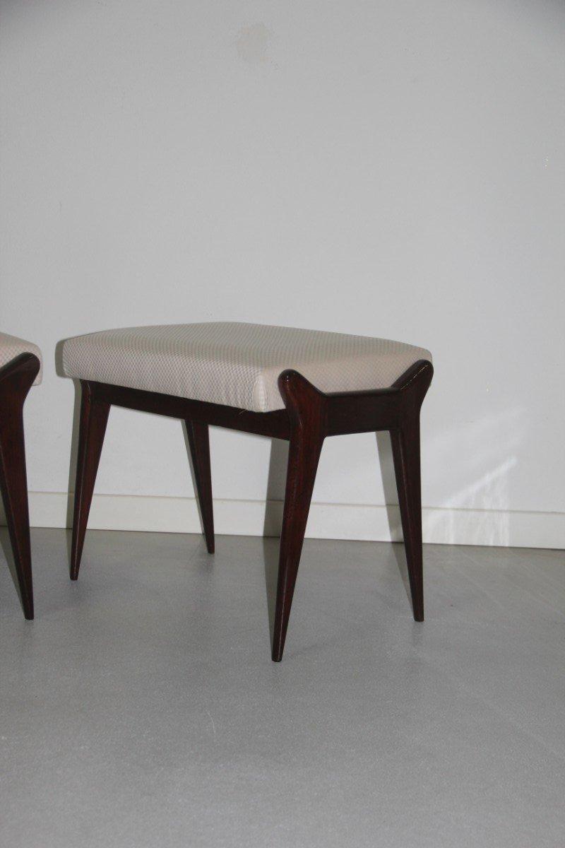 italienische hocker aus holz stoff 1950er 2er set bei. Black Bedroom Furniture Sets. Home Design Ideas