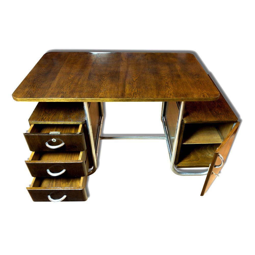 Tschechischer bauhaus schreibtisch aus buche 1930er bei for Schreibtisch aus buchenholz