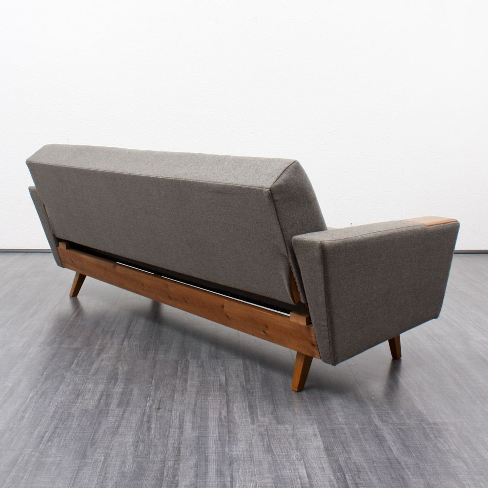 Folding Sofa With Walnut Armrests 1960s For Sale At Pamono
