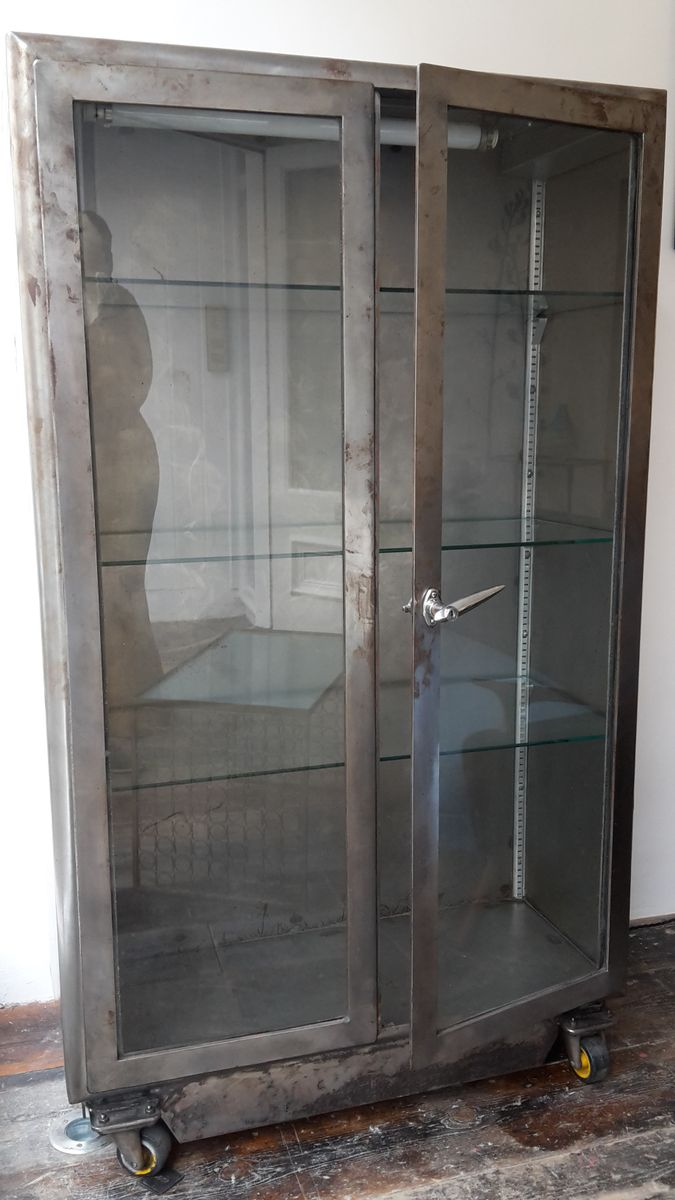 Vintage French Industrial Glass Fronted Metal Cabinet 1960s For Sale At Pamono