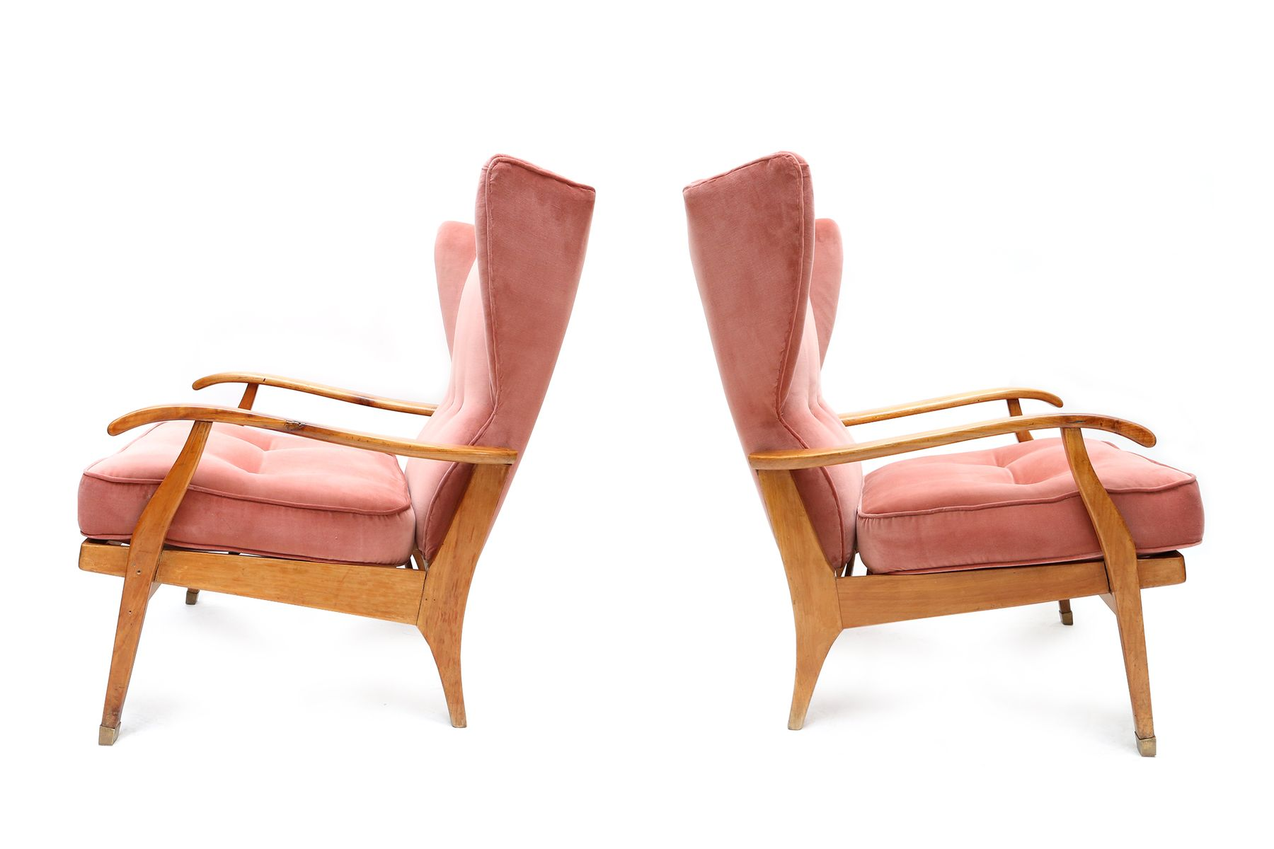 Italian walnut wingback armchairs 1950s set of 2 for for Ohrensessel 1950