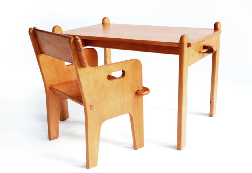 d nischer peter 39 s stuhl und tisch von hans j wegner f r carl hansen sons 1944 bei pamono kaufen. Black Bedroom Furniture Sets. Home Design Ideas