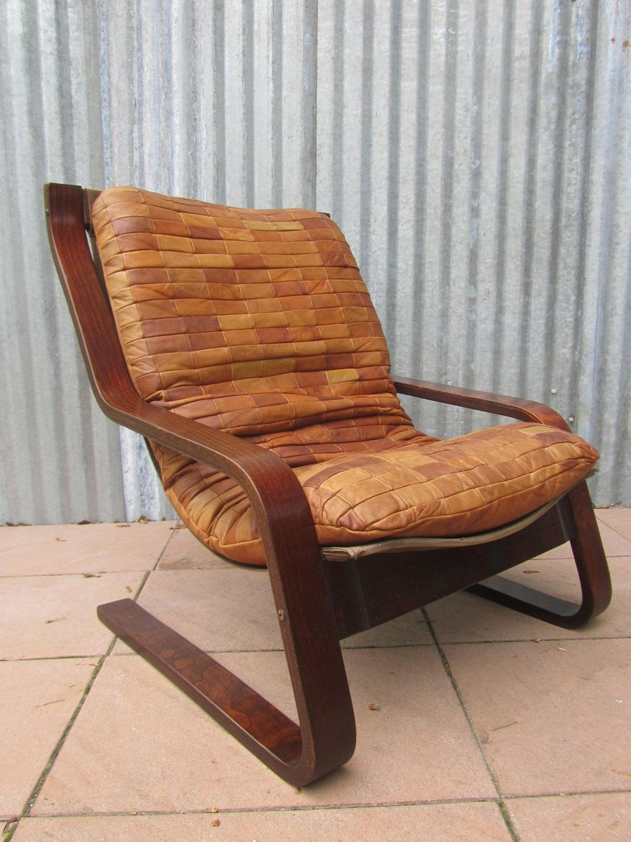 Danish patchwork leather and bentwood cantilever easy for Sessel patchwork