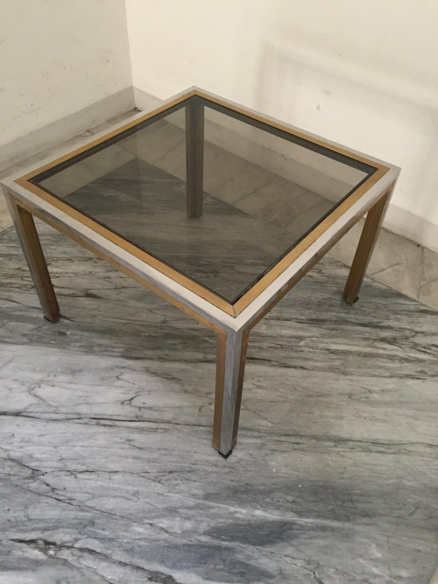 Vintage Italian Brass Smoked Glass Coffee Table By Romeo Rega For Sale At Pamono