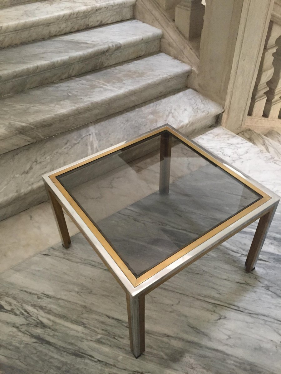 Charming Vintage Italian Brass U0026 Smoked Glass Coffee Table By Romeo Rega For Sale At  Pamono