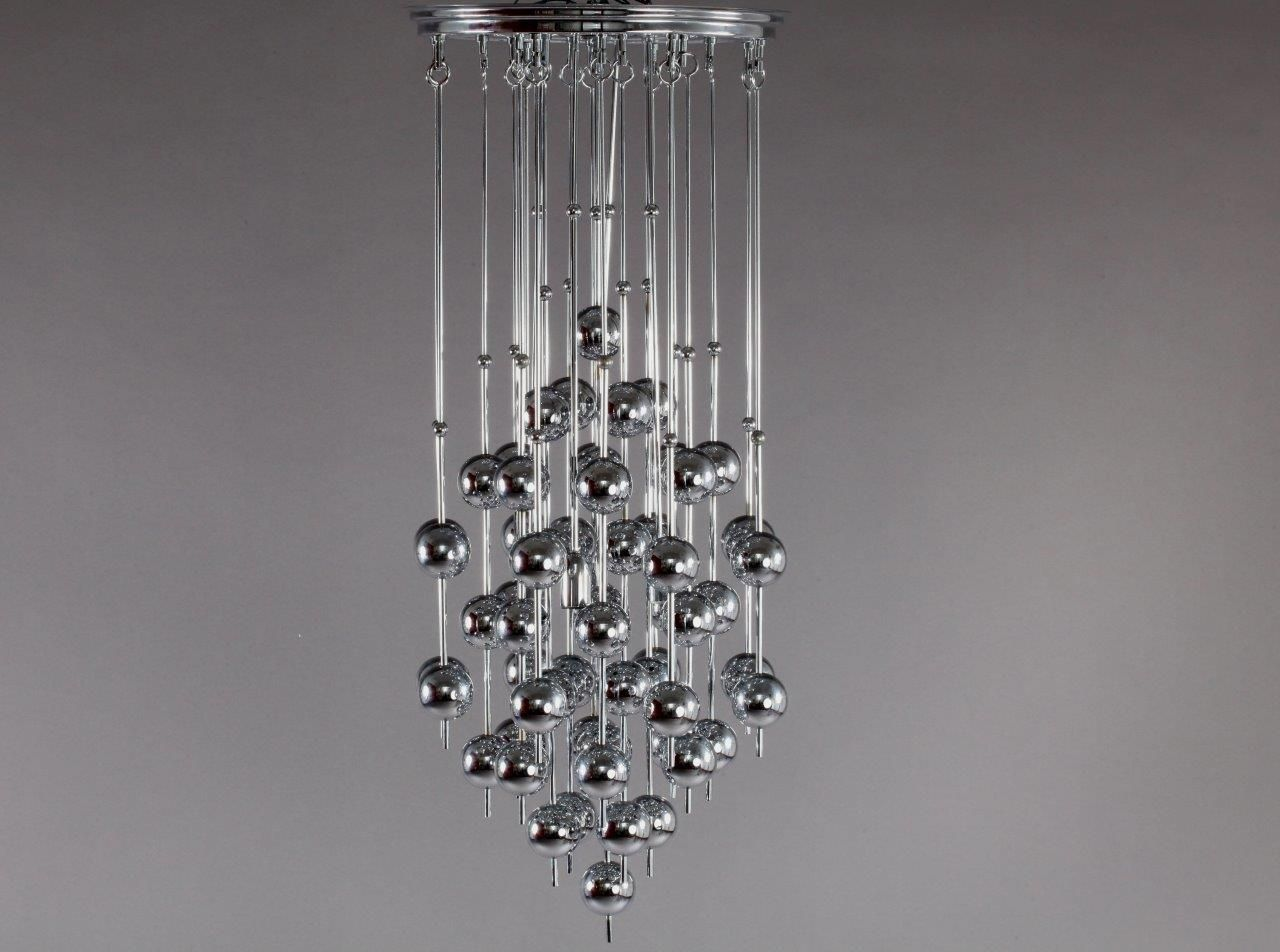 ball chandelier. metallic ball chandelier by verner panton for j. lüber, 1970