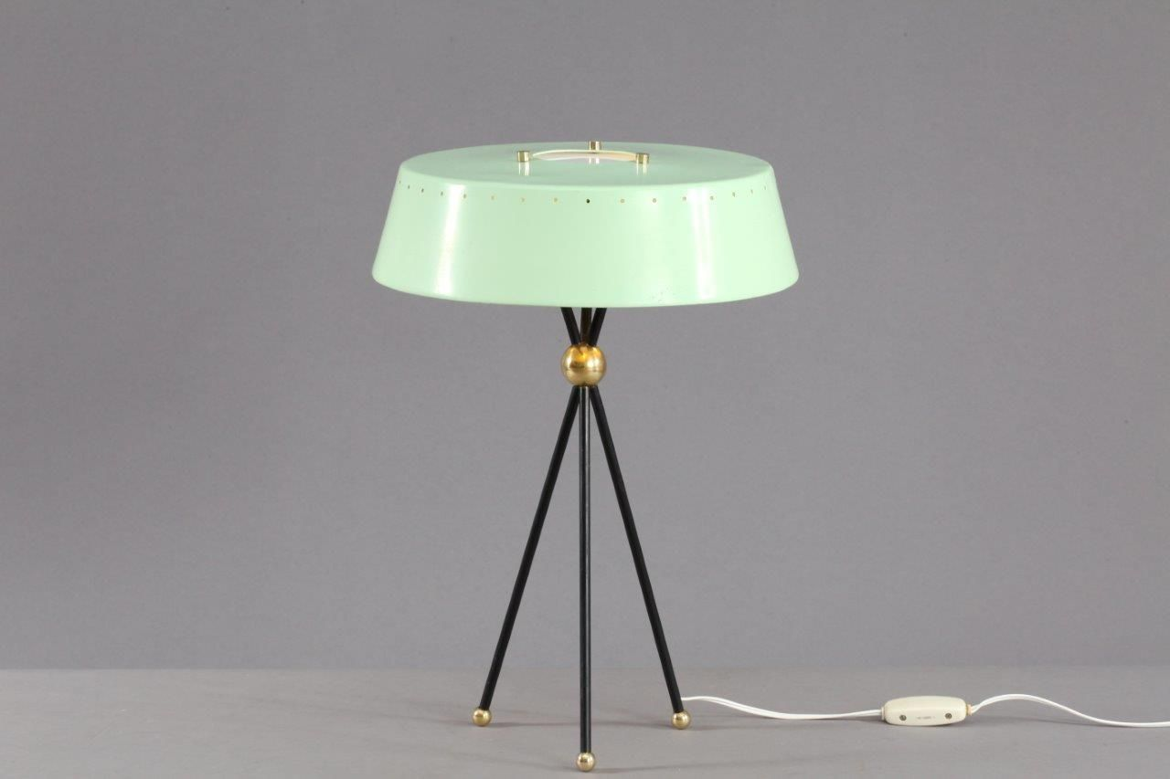 mint green italian tripod table lamp 1950s