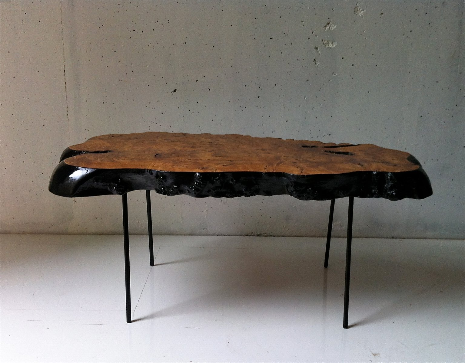 Vintage Black Painted Olive Wood Coffee Table For Sale At Pamono