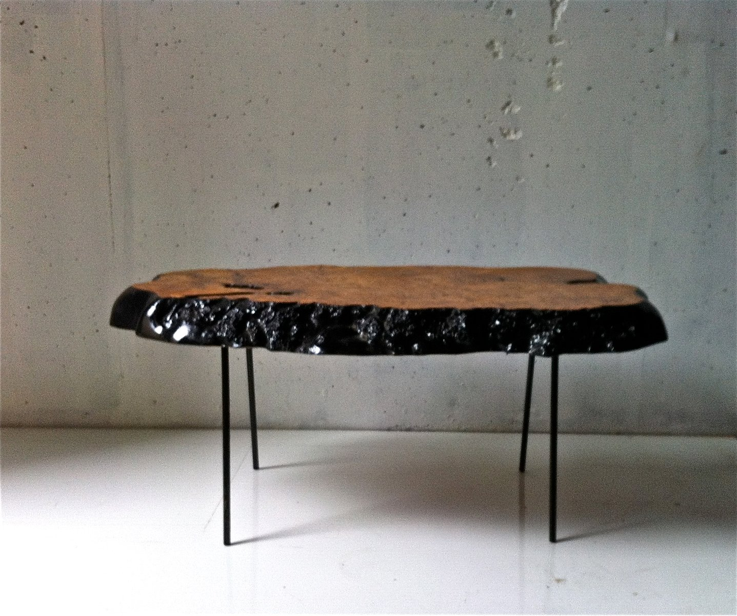 Vintage black painted olive wood coffee table for sale at for Painting wood table black